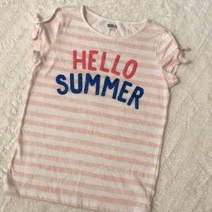 "Crazy8 girls ""Hello Summer"" cold shoulder tee"